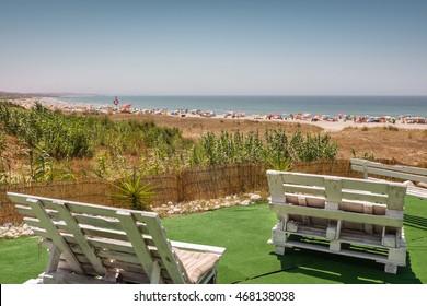 Beautiful beach landscape seen from a beach bar terrace