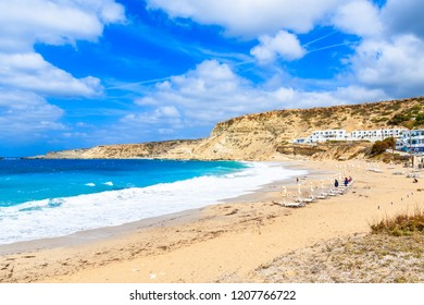Beautiful beach in Lefkos village on sea coast of Karpathos island, Greece