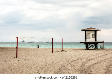 Beautiful beach, lifeguard tower and volleyball net