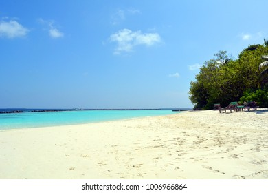 Beautiful beach in the Maldives with clear blue water