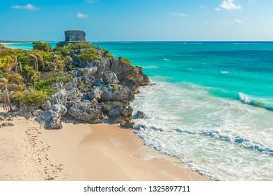 The beautiful beach and Mayan God of Winds temple along the Caribbean Sea, Quintana Roo State, Yucatan Peninsula, Mexico.