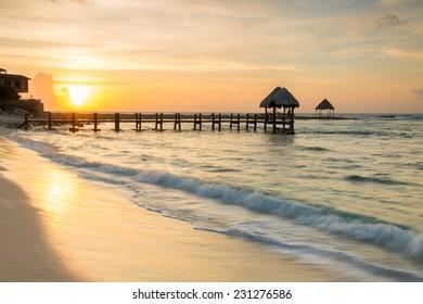 Beautiful beach of Mayan Riviera during tranquility of dawn
