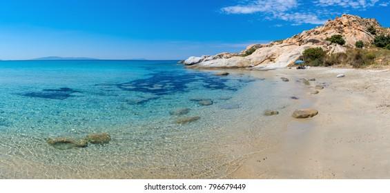 Beautiful beach of Mikri Vigla on Naxos island located 18 kilometres away from the capital. Cyclades, Greece
