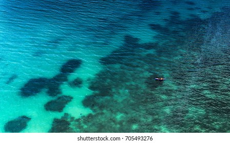 Beautiful beach with natural blue clear water aerial photography from drone camera
