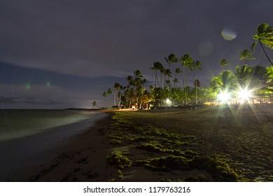 Beautiful beach at night in the caribbean