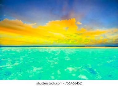Beautiful beach in Okinawa, Japan (Water Color Style)