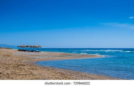 beautiful beach on Aegean Sea Rhodes