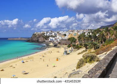 Beautiful beach on the Atlantic Ocean on the island of Fuerteventura in the village of Morro Jable / View on the Morro Jable. Jandia. Fuerteventura. Canary Islands
