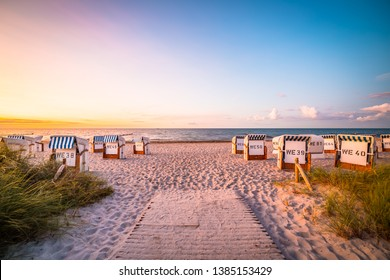 A beautiful beach on the Baltic Sea in the evening