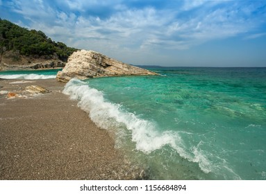 Beautiful beach on coast of Ionian Sea in Albania, Ksamil, Saranda region.
