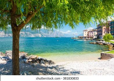 beautiful beach on Garda Lake, Italy