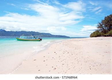 Beautiful beach on Gili Meno in Indonesia.