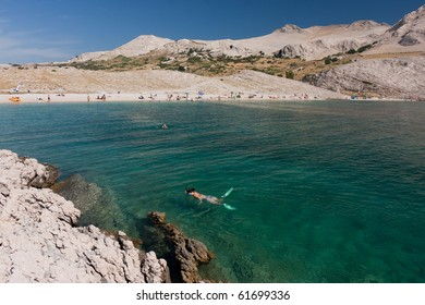 Beautiful beach on island Pag, Croatia
