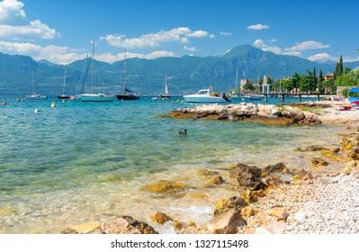 beautiful beach on Lake Garda, Italy