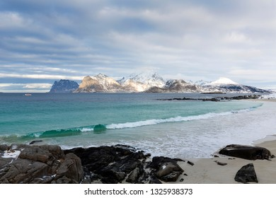 Beautiful beach on the Lofoten islands, Norway, Europe, in winter