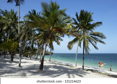Beautiful beach with palms in Kenya 01