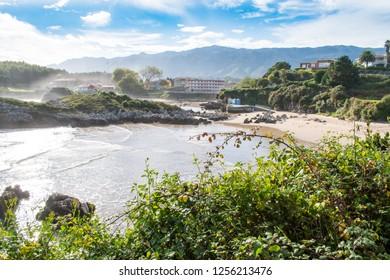 Beautiful beach Palombina in Celorio, Asturias, Spain. Camino Norte de Santiago is passing through.