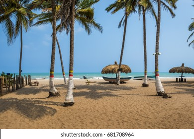 The beautiful beach of Palomino in the Caribbean Coast of Colombia, South America; Concept for travel in Colombia