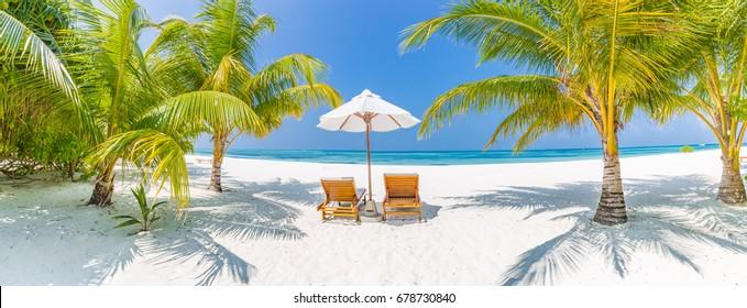 Beautiful beach panorama. Romantic honeymoon banner design