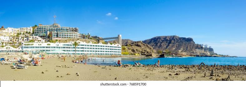 Beautiful beach of Playa del Cura, near Playa Amadores, Puerto Rico town, Gran Canaria, Canary Islands, Spain.