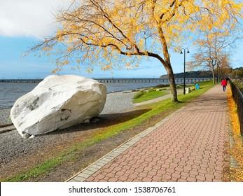 Beautiful beach promenade of Canada's White Rock, British Columbia in Autumn.