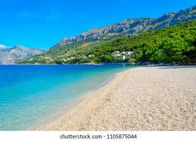beautiful beach punta rata in Brela, Croatia and adriatic sea, Dalmatia at summer