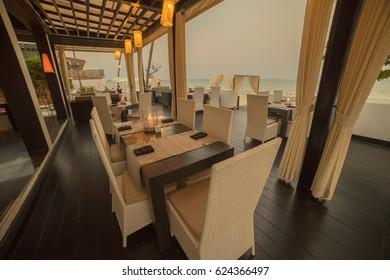 Beautiful beach restaurant in the dusk