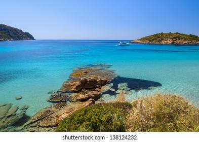 Beautiful beach rocks bay turquoise sea water, Sant Elm, Mallorca island, Spain