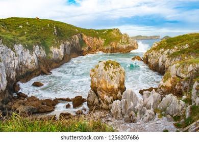 Beautiful beach San Martín in Asturias between Llanes and Ribadesella, Asturias, Spain. Camino Norte, Camino de Santiago, Spain.