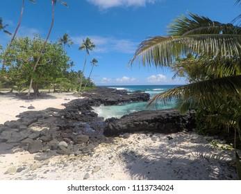 Beautiful beach with sand and rocks at Lefaga, Matautu, Upolu Island, Western Samoa, South Pacific