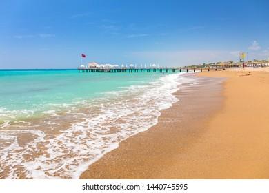 Beautiful beach scenery on Turkish Riviera near Side
