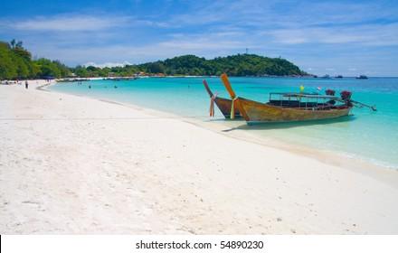 Beautiful beach and sea with longtail boat on Koh Lipe, Andaman Sea,Thailand