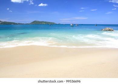Beautiful beach and sea wave, Kalim Beach Phuket South of Thailand