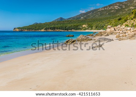 Beautiful beach of Setubal near Lisbon Portugal