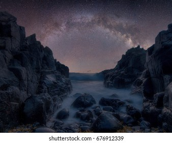 Beautiful beach side night view of the Milky Way