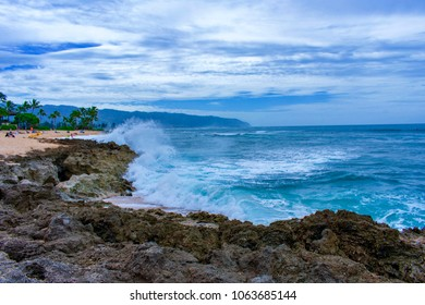 Beautiful beach with strong waves for surfers enjoy surfing At Alii Beach Park on the Northshore of Oahu Island, Hawaii USA