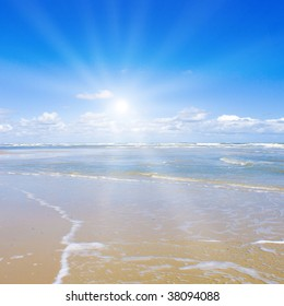 Beautiful beach with sunlight