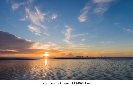 Beautiful beach sunset with big rain clouds and golden light sky  background