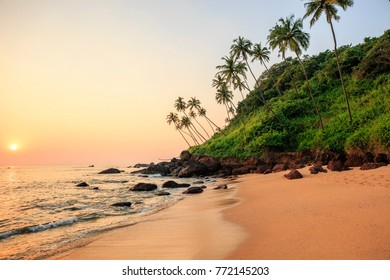 Beautiful beach at sunset. Cola beach, South GOA, India.