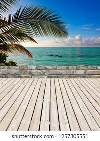 Beautiful beach terrace in the Maldives