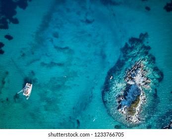 Beautiful beach top aerial view drone shot, Sithonia, Greece