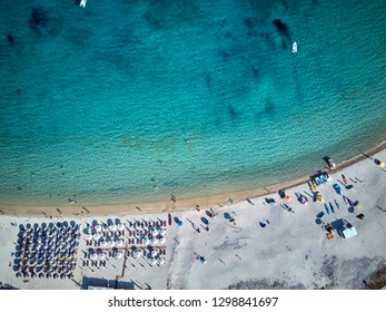 Beautiful beach top aerial view drone shot, Sithonia, Greece