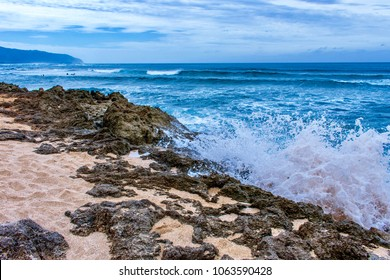 Beautiful beach for tourists and local have fun with playing surf and see stunning sunset and sunrise at Alii Beach Park in Haleiwa town of Northeastern shore of Oahu Island, Hawaii USA