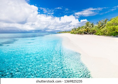 Beautiful beach and tropical nature. Landscape of Maldives islands, amazing blue sea and perfect green palm trees. Luxury resort for vacation and holiday concept. Exotic travel background