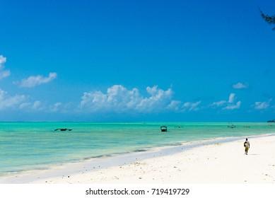 beautiful beach and tropical sea in Jambiani, Zanzibar, Tanzania Africa