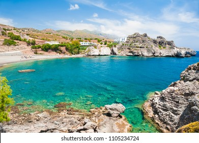 Beautiful beach with turquoise water and rocks in Agios Pavlos, Crete, Greece.