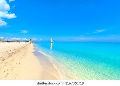 The beautiful beach of Varadero in Cuba on a sunny summer day