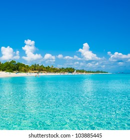 The beautiful beach of Varadero in Cuba seen from the sea on a beautiful summer day