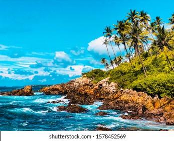 Beautiful beach view from Secret Beach, Mirissa, Srilanka