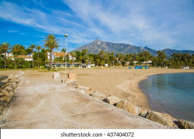 Beautiful beach walk from the pier in Marbella with an astonishing view